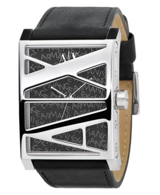 AX Armani Exchange Watch, Men's Black Leather Strap AX1037