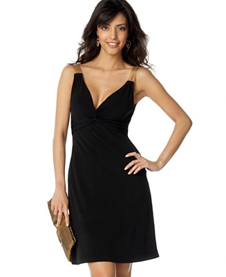 XOXO Sleeveless Gold-Strap Dress - Dresses - Juniors - Macy's :  black dress little black dresses dress sleevelss