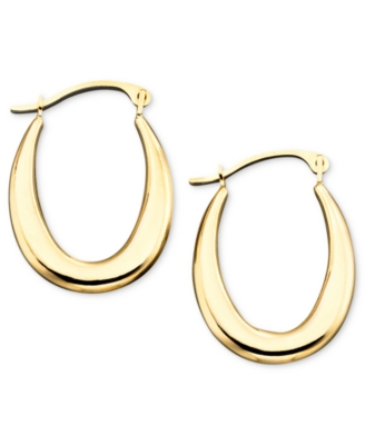 14k Gold Small Polished Graduated Oval Hoop Earrings
