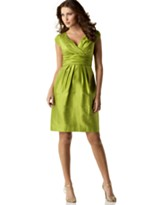 Jones New York Cap-Sleeve V-Neck Silk Dress