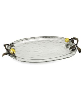 Michael Aram Serveware, Lemonwood Silver Glass Tray, Large
