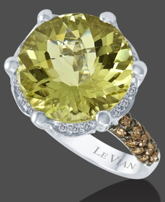 Le Vian 14k Gold Lemon Quartz (8-2/5 ct. t.w.) and Chocolate Diamond (7/10 ct. t.w.) Ring - Gemstone Rings