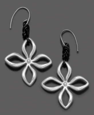 Fossil Silvertone Mixed Metal Flower Drop Earrings