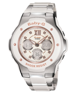 Baby-G Watch, Women's Stainless Steel and Resin Bracelet MSG301C-7B