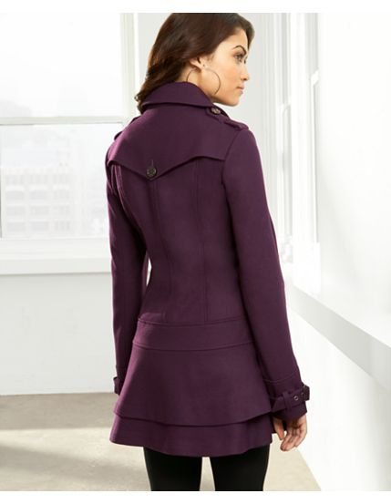 GUESS? Coat, Wool Single Breasted Skirted Bottom