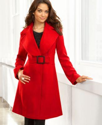 Jessica Simpson Belted Melton Coat