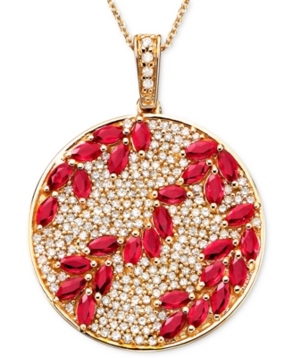 14k Rose Gold Ruby (3-1/3 ct. t.w.) & Diamond (9/10 ct. t.w.) Pendant