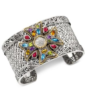 Multistone and Diamond (1/4 ct. t.w.) Cuff Bracelet in 18k Gold