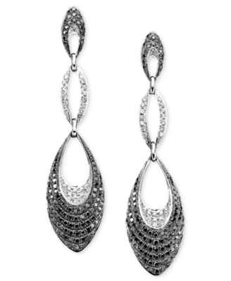 14k White Gold Black & White Diamond Earrings (2 ct. t.w.)