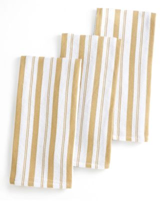 Martha Stewart Collection Basket Weave Taupe-Striped Kitchen Towels, Set of 3