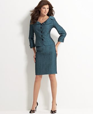 Jones New York Rounded-Collar Skirt Suit