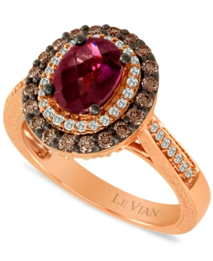Le Vian 14k Rose Gold Ring, Raspberry Rhodolite (1-1/2 ct. t.w.), Chocolate Diamond (3/5 ct. t.w.) and White Diamond Accents Oval Ring