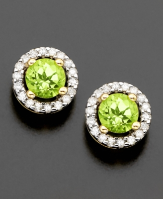 14k Gold Earrings, Peridot (1/2 ct. t.w.) and Diamond Accent