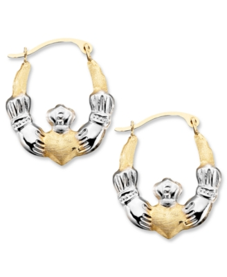 14k Gold Hoop Earrings, Two-Tone Claddagh - Hoop Earrings