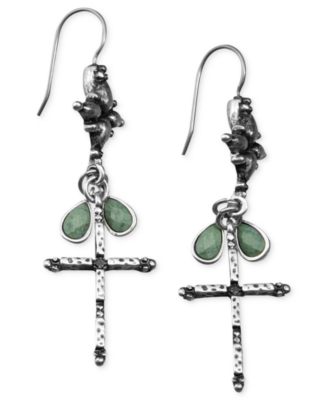 Lucky Brand Earrings, Small Cross