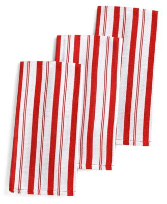 Martha Stewart Collection Basket Weave Red-Striped Kitchen Towels, Set of 3