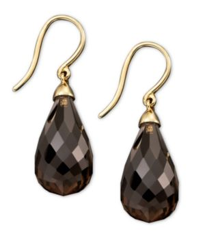14k Gold Earrings, Smokey Topaz (25 ct. t.w.)