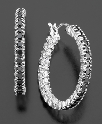 Sterling Silver Earrings, Black & White Cubic Zirconia Hoop (1/10 ct. t.w.)
