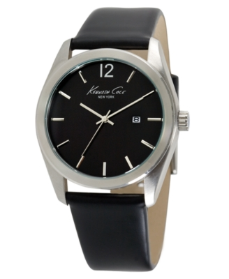 Kenneth Cole New York Watch, Men's Black Leather Strap