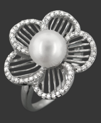 Sterling Silver Ring, Cultured Freshwater Pearl and Diamond Accent