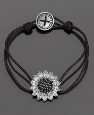 Fossil Bracelet, Daisy Flower Crystal Accent - Leather Bracelet