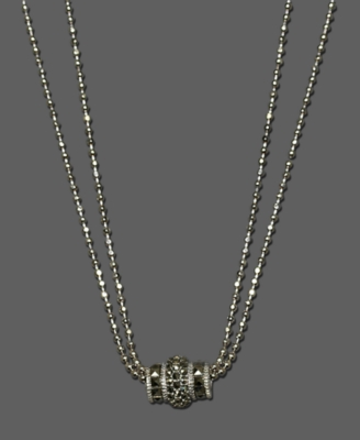 Judith Jack Necklace, Sterling Silver Double Chain Barrel
