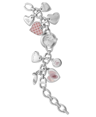 Fossil Watch, Stainless Steel Heart Charm Bracelet ES2396