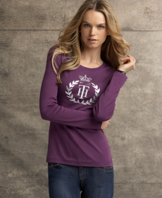 Tommy Hilfiger Top, Long Sleeve Circle Crest Tee