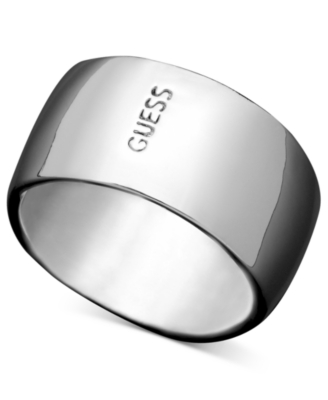GUESS Ring, Silvertone Logo Band