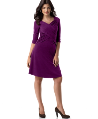 Elementz Petite Dress, Slimming Three Quarter Sleeve