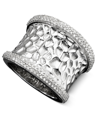 Sterling Silver Ring, Diamond Hammered (1/2 ct. t.w.)