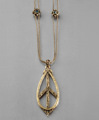 Lucky Brand Pendant, Peace Sign - Pendant Necklaces