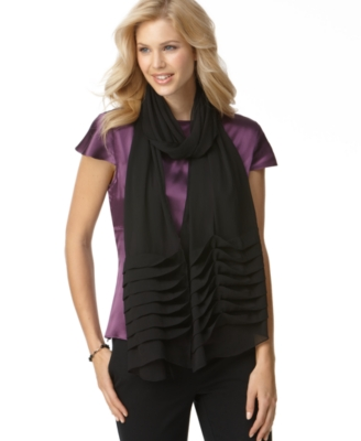 Echo Wrap, Evening Chiffon Pleated Border