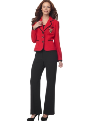 Nine West Suit, Contrast Piped Jacket & Pants