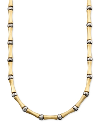 14k Gold and Sterling Silver Over Sterling Silver Necklace, Bamboo