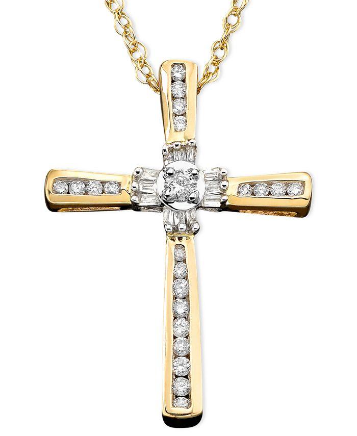 Macy's - 14k Gold Pendant, Diamond Cross (1/4 ct. t.w.)