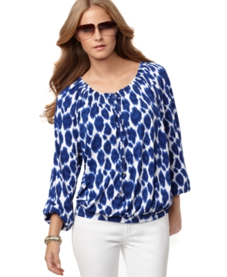 MICHAEL Michael Kors Top, Long Sleeve Ikat Print Peasant