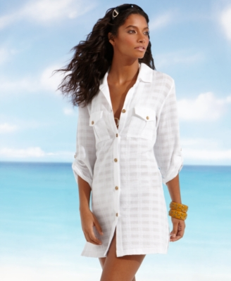 Dotti Cover Up, Roll Sleeve Safari Shirt Women's Swimsuit