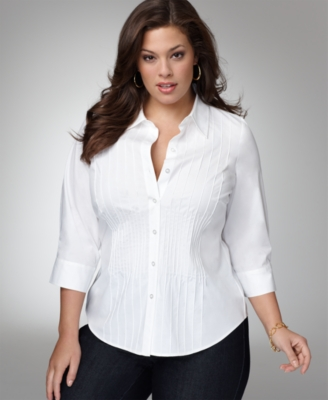 Alfani Plus Size Shirt, Long Sleeve Pintucked Stretch