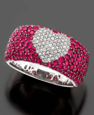 Effy Collection Ring, 14k White Gold Ruby (3 ct. t.w.) and Diamond (1/4 ct. t.w.)