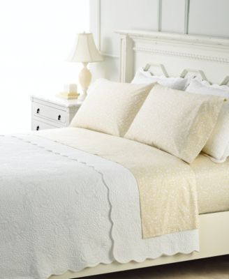 Martha Stewart Collection Bedding Stenciled Leaves Quilt Collection Bedding