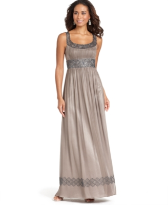 Adrianna Papell Dress, Sleeveless Silk Beaded Goddess Gown - Evening Dress