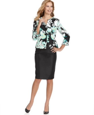Suit Studio Suit, Floral Jacket & Solid Skirt