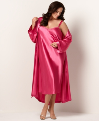Morgan Taylor Robe, Plus Size Long Charmeuse