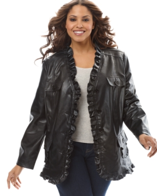 INC International Concepts Plus Size Jacket, Faux Leather Ruffled Button
