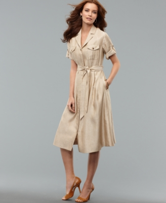 Jones New York Dress, Short Sleeve Button Front Belted