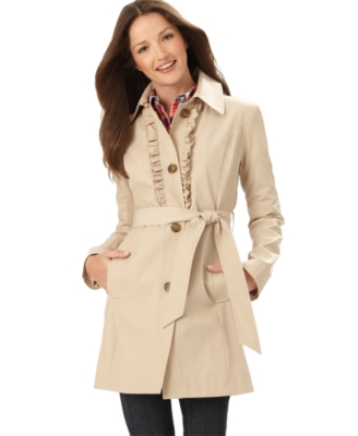 Tommy Hilfiger Coat, Trenchcoat With Ruffle Front