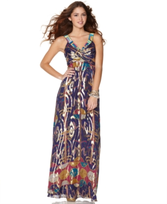 Nicole Miller Dress, Printed V-Neck Gown - Nicole Miller