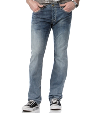 Buffalo David Bitton Jeans Straight Leg Jeans, Six Embroidery Straight Leg