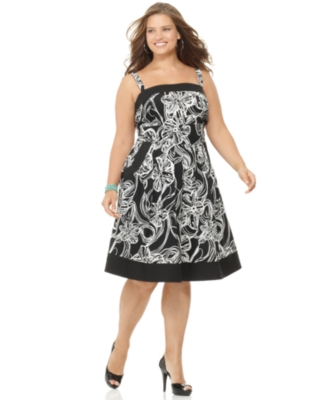 Love Squared Plus Size Dress, Sleeveless Floral A-Line